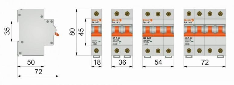 Габаритные размеры 10va63d3025 автоматический выключатель electro ва1-63 3 полюса 25a 10ка d
