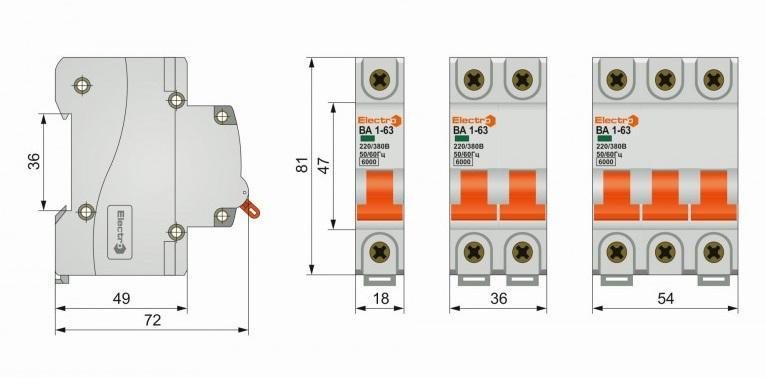 Габаритные размеры 60va63c1025 автоматический выключатель electro ва1-63 1 полюс 25a 6ка с