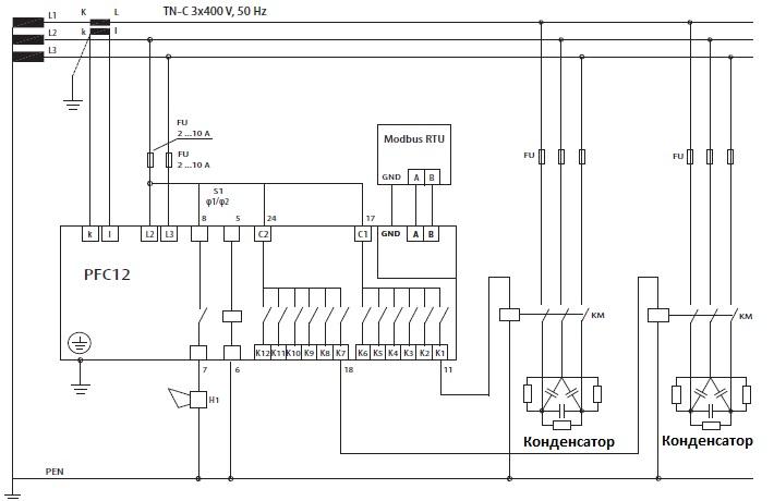 Схема регулятор реактивной мощности 1-фазный pfc-12 rs eti 4656907