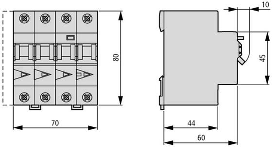 габаритные размеры дифференциальный автоматический выключатель 16/0,3а, кривая отключения в, 3+n полюсов, откл. способность 6 ка eaton mrb6-16/3n/b/03-a 120656