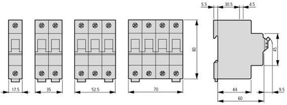габаритные размеры автоматический выключатель 32а, кривая отключения c, 1 полюс, откл. способность 25 ка eaton fazt-c32/1 141909