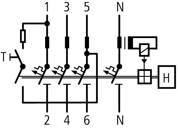 Схема дифференциальный автоматический выключатель 16/0,3а, кривая отключения в, 3+n полюсов, откл. способность 6 ка eaton mrb6-16/3n/b/03-a 120656