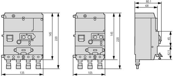 габаритные размеры блок защиты от токов утечки, 30 ма, 4p, установка справа от выключателя eaton nzm1-4-xfi30r 104606