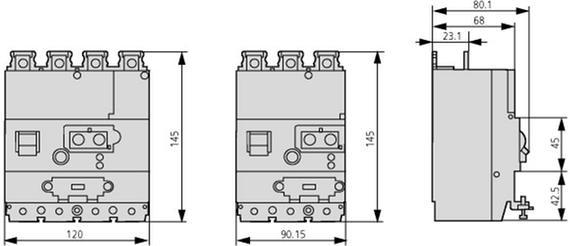 габаритные размеры блок защиты от токов утечки, 30 ма, 3p, установка снизу выключателя eaton nzm1-xfi30u 104609