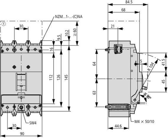 габаритные размеры втычной автоматический выключатель защиты двигателя, 100а, 3 полюса, откл. способность 25ка eaton nzmb1-m100-sve 112723