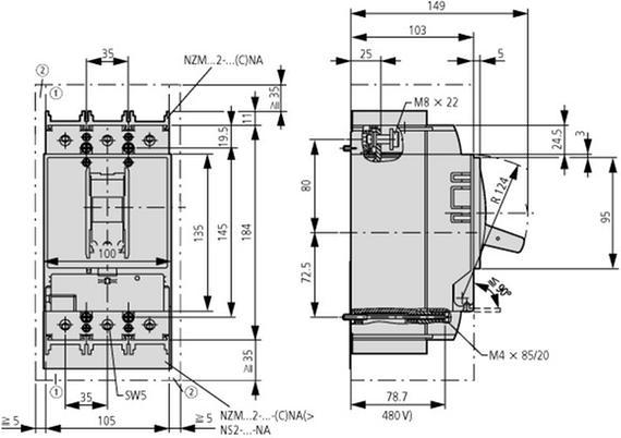 габаритные размеры автоматический выключатель 300а, 3 полюса, откл.способность 25ка, диапазон уставки 240...300а eaton nzmb2-a300-bt 110214