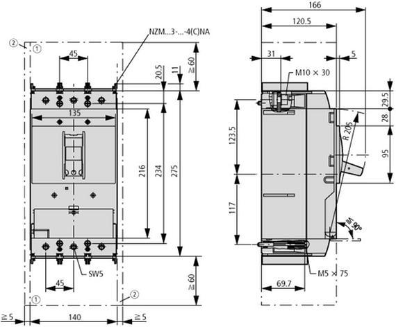 габаритные размеры выкатной автоматический выключатель защиты двигателя 220а, 3 полюса, откл.способность 50ка, электронный расцепитель защиты двигателя eaton nzmn3-me220-ave 110846