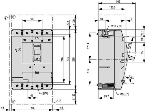 габаритные размеры автоматический выключатель 500а /320а нейтрали, 4 полюса, откл.способность 50ка, диапазон уставки 400…500а eaton nzmn3-4-a500/320 109699