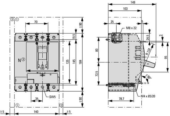 габаритные размеры втычной автоматический выключатель 200а/ 125а нейтрали, 4 полюса, откл.способность 25ка eaton nzmb2-4-a200/125-sve 113213