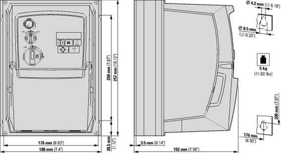 габаритные размеры преобразователь частоты dc1 1~/1~230в 10,5a 1,1квт, встроенный фильтр эмс, ip66, локальное управление eaton dc1-s2011fb-a6sn 169529