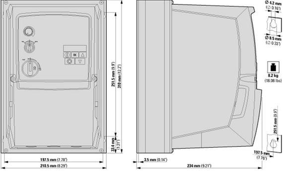 габаритные размеры преобразователь частоты dc1 3~/3~400в 18a 7,5квт, встроенный фильтр эмс, ip66, локальное управление eaton dc1-34018fb-a6sn 169495