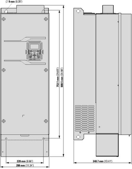 габаритные размеры преобразователь частоты dg1 3~/3~230в 143a 37квт, ip54, фильтр эмс eaton dg1-32143fb-c54c 9701-5105-00p