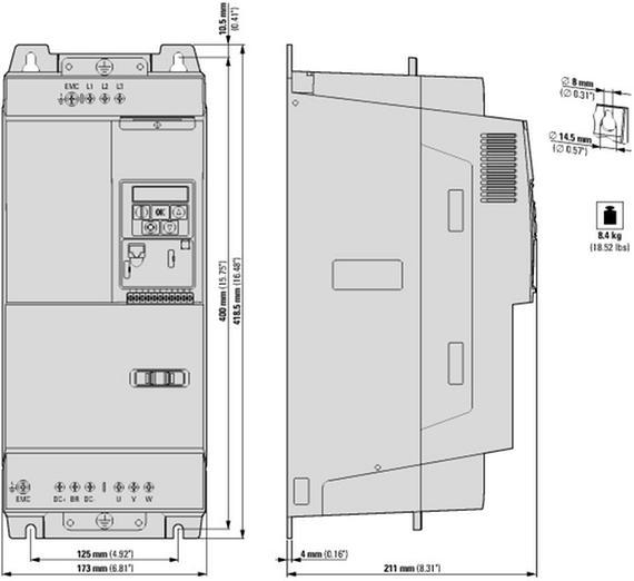 габаритные размеры variable frequency drive, 3-/3-phase 400 v, 46 a, 22 kw, emc-filter, brake-chopper eaton dc1-34046fb-a20n 180463