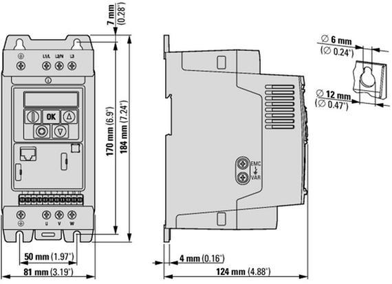 габаритные размеры преобразователь частоты dc1 1~115в/3~230в 2,3a 0,5квт ip20 eaton dc1-1d2d3nn-a20n 169503