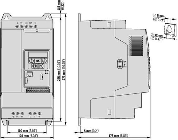 габаритные размеры преобразователь частоты dc1 3~/3~400в 18a 7,5квт, встроенный фильтр эмс, ip20 eaton dc1-34018fb-a20n 169493