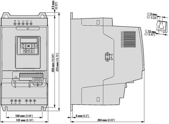 габаритные размеры преобразователь частоты da1 3~/3~230в 24a 5,5квт, встроенный фильтр эмс, ip20 eaton da1-32024fb-a20c 169099