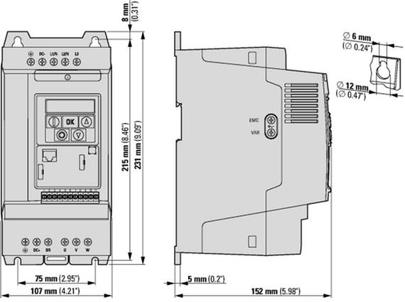 габаритные размеры преобразователь частоты dc1 1~/3~230в 7,0a 1,5квт, встроенный фильтр эмс, ip20 eaton dc1-127d0fb-a20n 169249