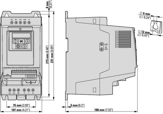 габаритные размеры преобразователь частоты da1 1~/3~230в 7,0a 1,5квт, встроенный фильтр эмс, ip20 eaton da1-127d0fb-a20c 169081