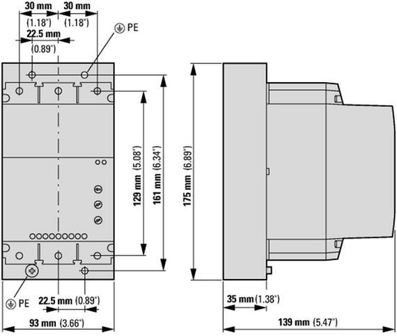 габаритные размеры устройство плавного пуска 100а, напряжение управления 220в (ac,dc) eaton ds7-342sx100n0-n 134938