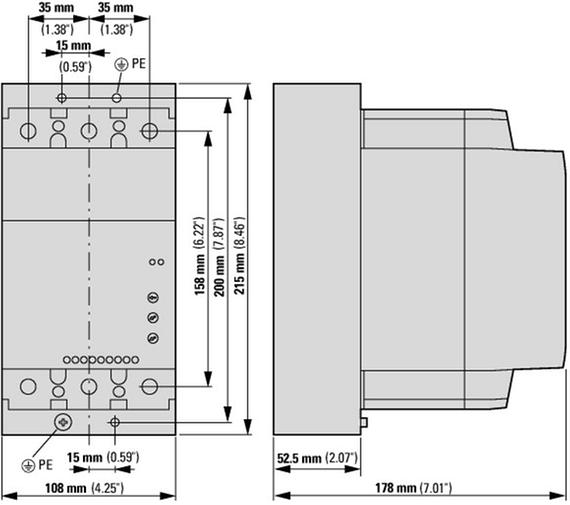 габаритные размеры устройство плавного пуска 135а, напряжение управления 220в (ac,dc) eaton ds7-342sx135n0-n 134939