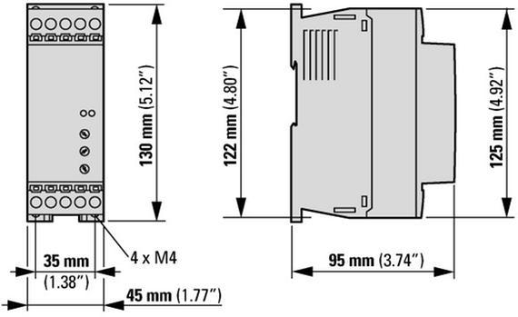 габаритные размеры устройство плавного пуска 12а, напряжение управления 24в (ac,dc) eaton ds7-340sx012n0-n 134911
