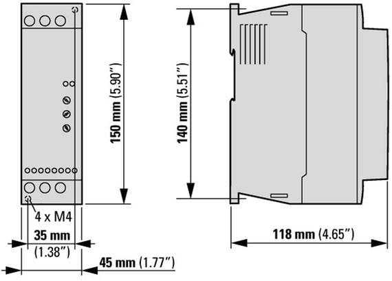 габаритные размеры устройство плавного пуска 16а, напряжение управления 24в (ac,dc) eaton ds7-340sx016n0-n 134912