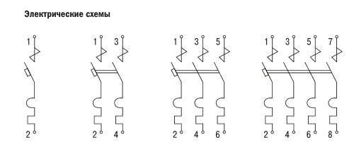 Схема автоматический выключатель ва 47-60 4р 63а 6 ка с іек mva41-4-063-с