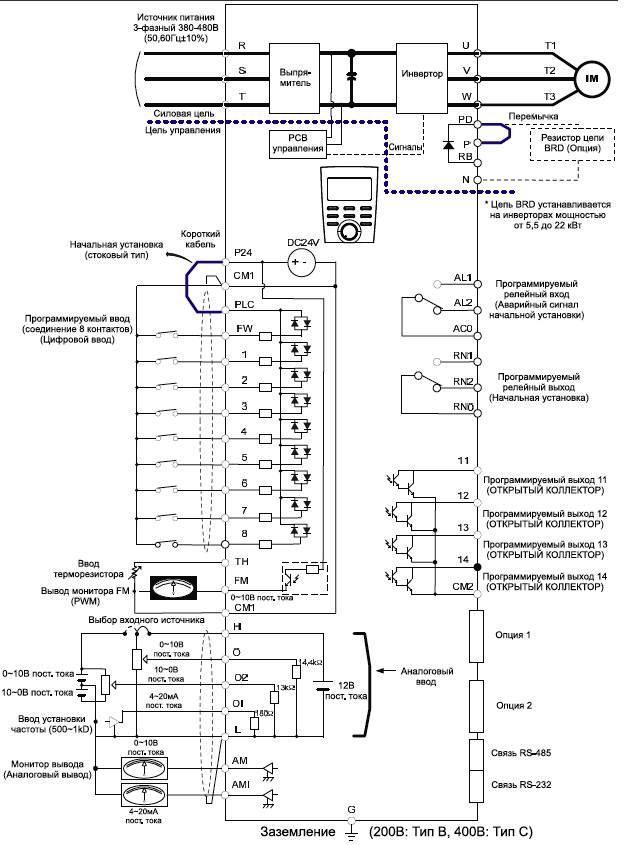 Схема преобразователь частоты hyundai n700-075hf