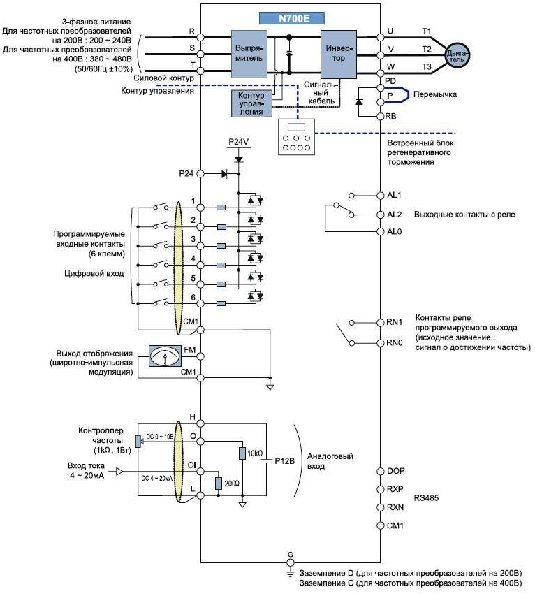 Схема преобразователь частоты hyundai n700e-1100hf/1320hfp