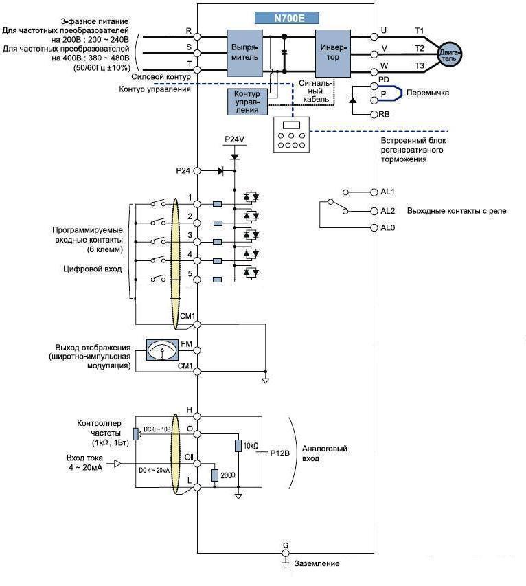 Схема преобразователь частоты hyundai n700e-015sf