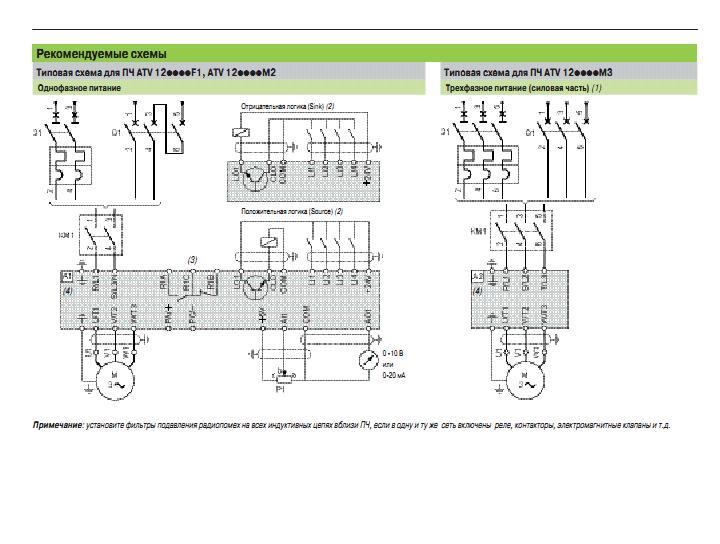 Схема преобразователь частоты schneider electric altivar 12 atv12 0,37квт 240в 1ф atv12h037m2