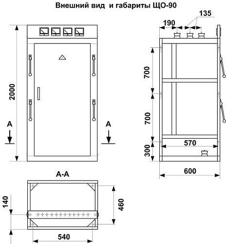 Габаритные размеры панели ЩО-90