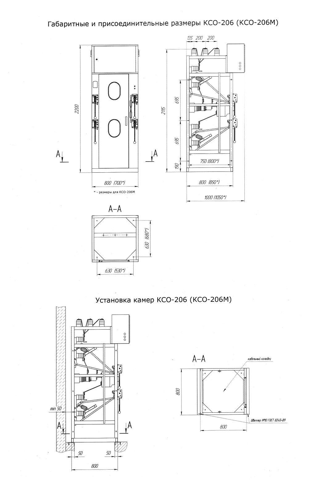 Однолинейные схемы ячеек КСО 206м.