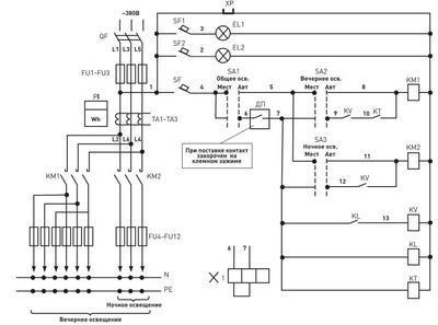 Схема шкафа управления освещением