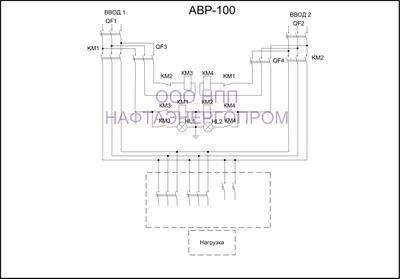 Схема трёхфазнного АВР 100