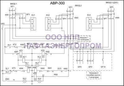 Схема трёхфазного АВР 300
