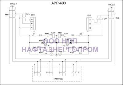 Схема трёхфазного АВР 400