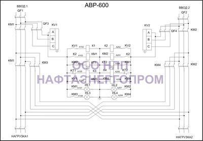 Схема трёхфазного АВР 600