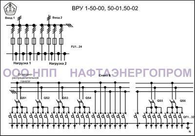 Схема ВРУ 1-50-00, 50-01,50-02-1