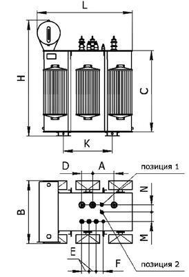 Общий вид трансформаторов типа ТМ 100 1600