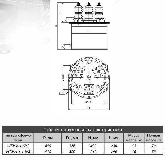 габаритные размеры измерительных трансформаторов НТМИ-I-10У3